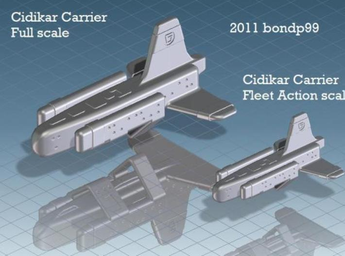 Cidikar Heavy Carrier 3d printed comparison of full scale and fleet action scale