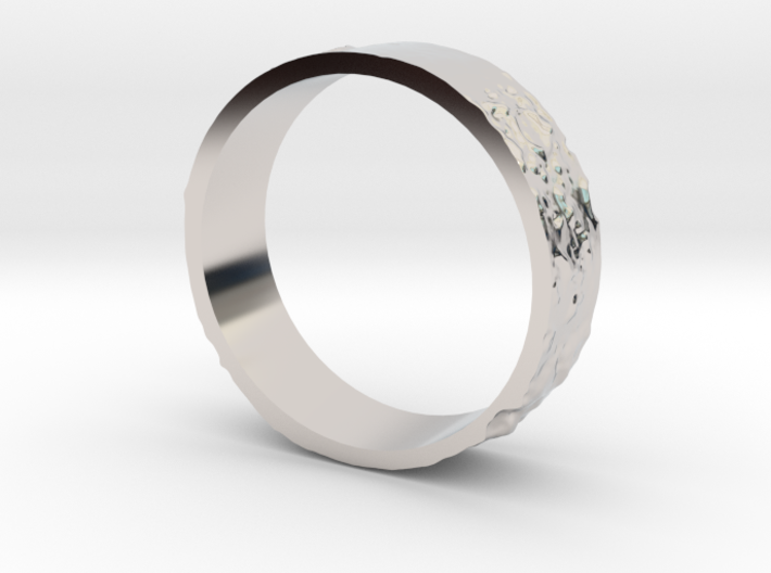Lunar Landing Site Male (Thick) Moon Ring - Silver 3d printed