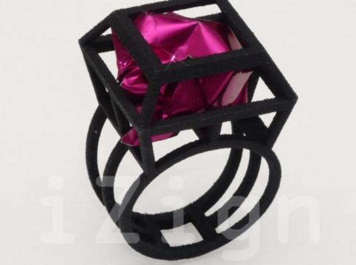 ring06 20 3d printed Black Strong & Flexible dressed up with a pink wrapper (not included)