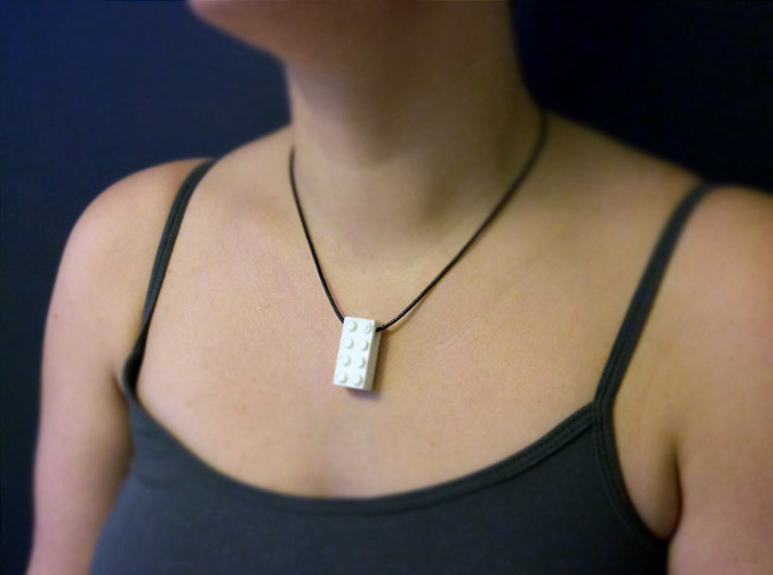 bX Necklace (2x4) 3d printed White Strong & Flexible Polished (String not included)