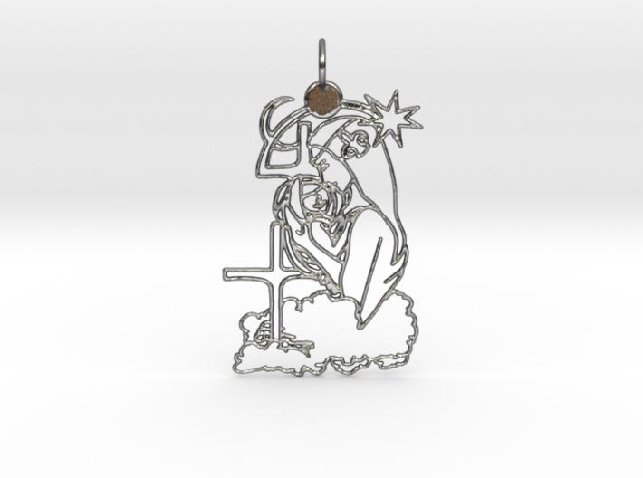 Maria with Jesus Pendant 3d printed