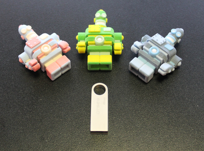 USB Robot's Army 3d printed Place a dab of resin glue on the end of the pen drive