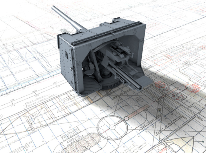 "1/600 4.7""/45 (12cm) QF Mark IX CPXVII Guns x8 3d printed 3d render showing product detail"