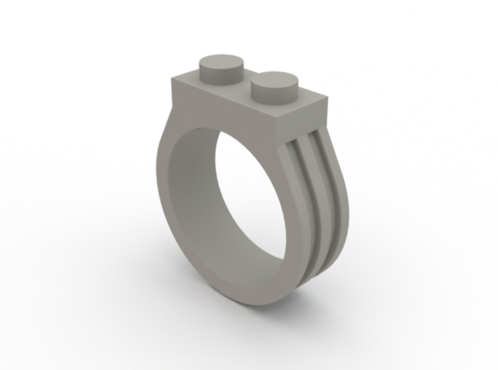 Brick Ring-2 Stud, Size 9 3d printed