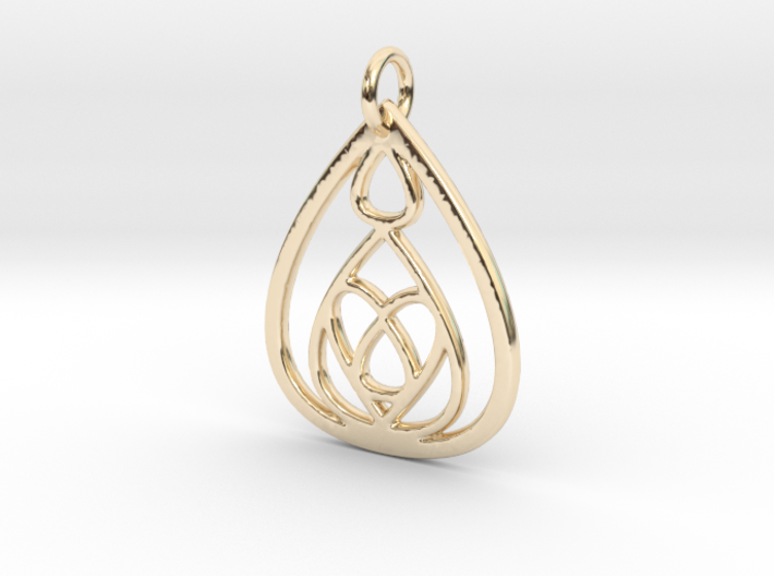 Mama's Milk Drop Pendant; Drops & Hearts 3d printed 14k Gold Plated