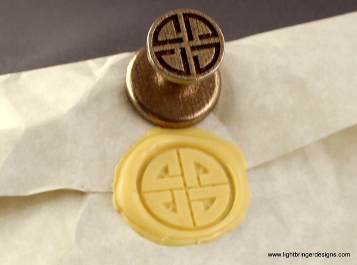 Shield Knot Wax Seal 3d printed Shield Knot wax seal with impression in Sunflower Yellow wax.