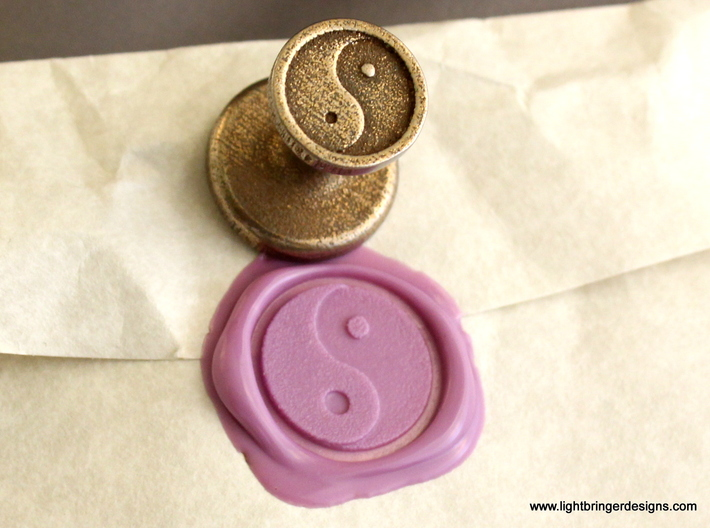 Yinyang Wax Seal 3d printed Yin Yang wax seal and impression in Lavender sealing wax