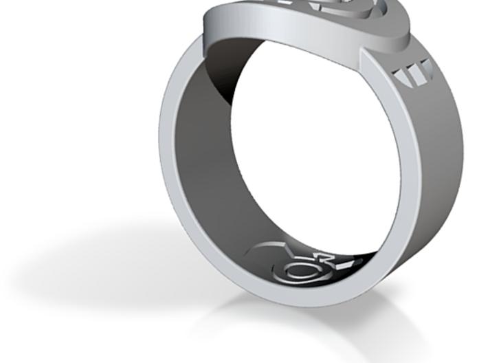 Blue Hope FF Ring Sz 15 3d printed Custom Enameled