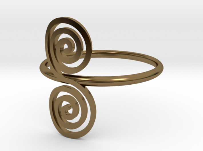 """Celtic """"life and death"""" double spiral ring 3d printed"""