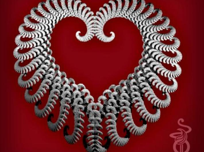 Fractal heart ornament / very large pendant 3d printed 1