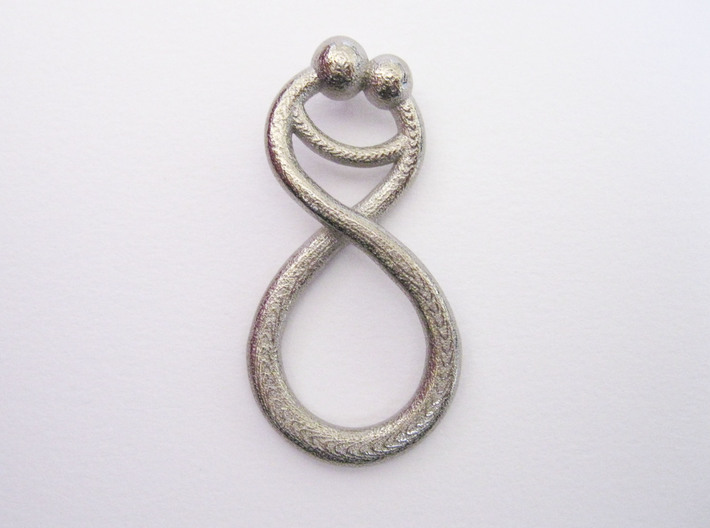 Infinite Embrace Pendant 3d printed Shown in Polished Nickel Steel