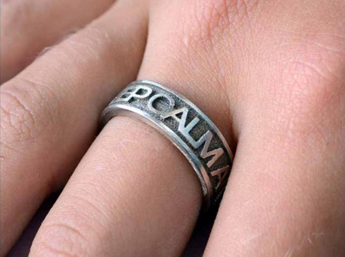 """Size 9 Steel Ring """"KEEP CALM & CARRY ON"""" 3d printed Description"""