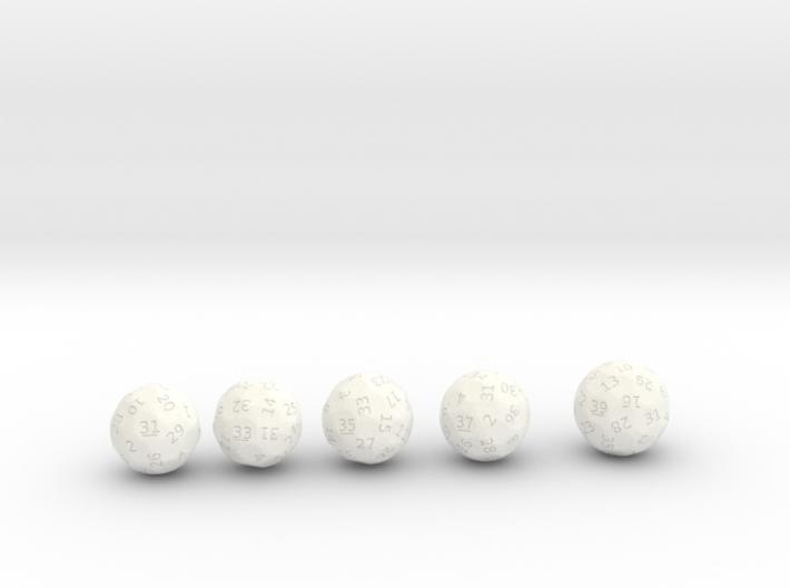 d31 through 39 oddball dice 3d printed