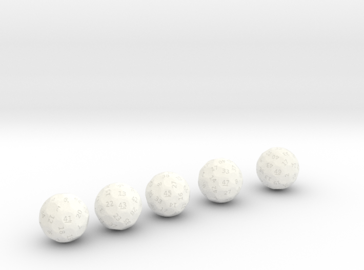d41 through d49 oddball dice 3d printed