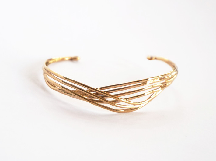 Cecilie Cuff Bracelet 3d printed Cecilie Cuff Bracelet printed in Polished Bronze - Front view