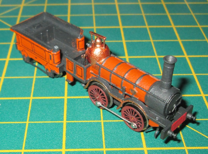 N Gauge 1846 Coppernob Loco Scratch Aid 3d printed N Gauge Coppernob loco and tender painted with optional scratchbuilt details.