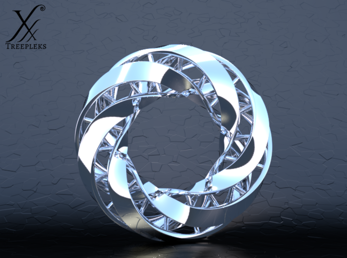 Double DNA trefoil, Cycle of life 3d printed Premium silver