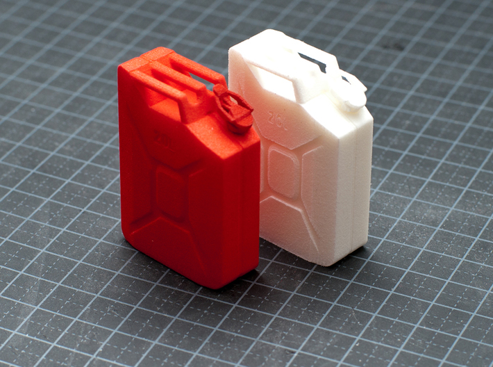 NATO 20L Jerry Can 1/10 Scale 3d printed Coral Red Strong & Flexible Polished  and White Strong & Flexilble