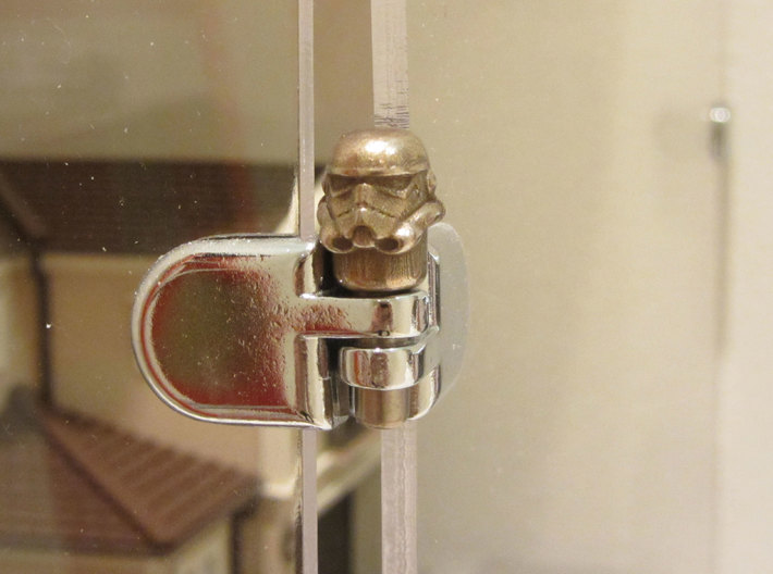 Star Wars Stormtrooper Peg 3d printed Stainless Steel Print in 3/16 inch glass hasp