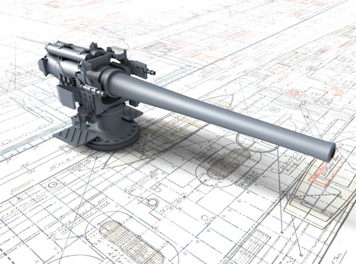 """1/144 6""""/45 (15.2 cm) BL Mark XII with Shield x2 3d printed 3d render showing part detail"""