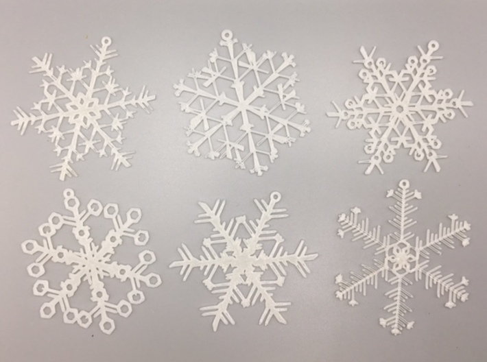Organic Snowflake Ornaments - Stack of 6 3d printed 3D printed FDM prototypes of the six ornaments in this set