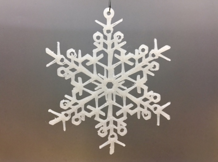"Organic Snowflake Ornaments - Stack of 6 3d printed 3D printed FDM prototype of the ""Finland"" ornament"