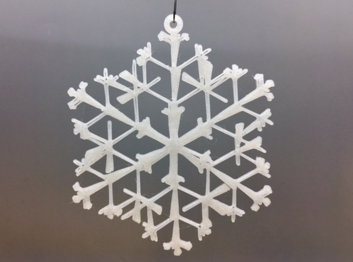 "Organic Snowflake Ornaments - Stack of 6 3d printed 3D printed FDM prototype of the ""Canada"" ornament"