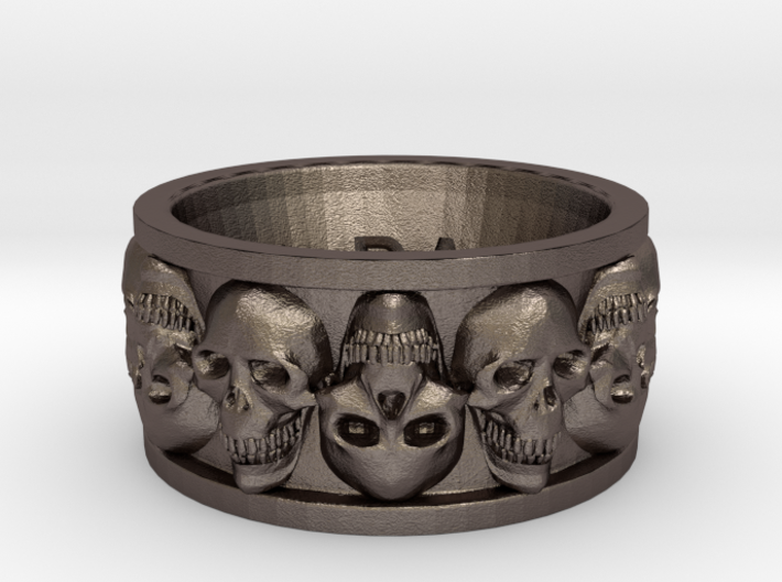 Faced Skullring (Size 10) 3d printed