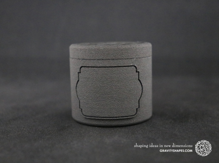 Gift Box small with Stars & Label No. 2 (filigree) 3d printed The photo shows a print made of black strong and flexible.