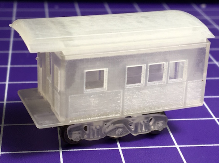 N Scale Piker 20 foot Heavyweight Observation Car 3d printed Raw print before cleaning Truck not included