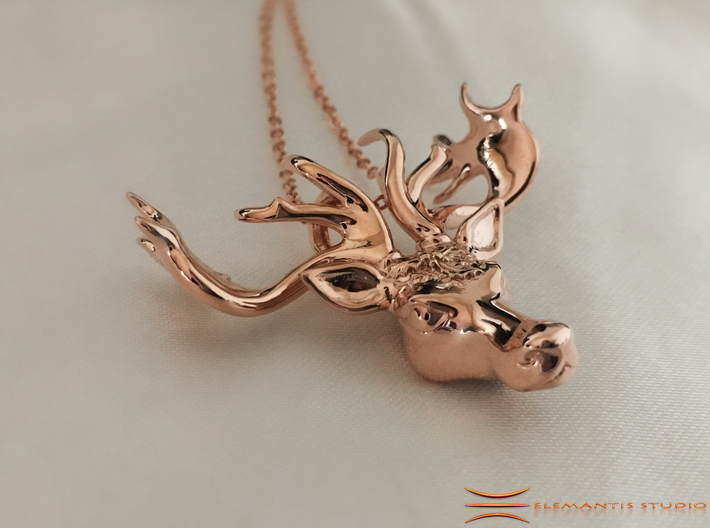 Mistletoe Reindeer Pendant/ Ornament 3d printed Rose gold plated brass on white silk (Chain not included)