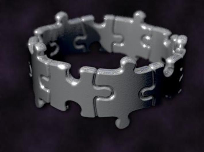 Puzzle Ring 01 size 5 3d printed Rendered to simulate silver
