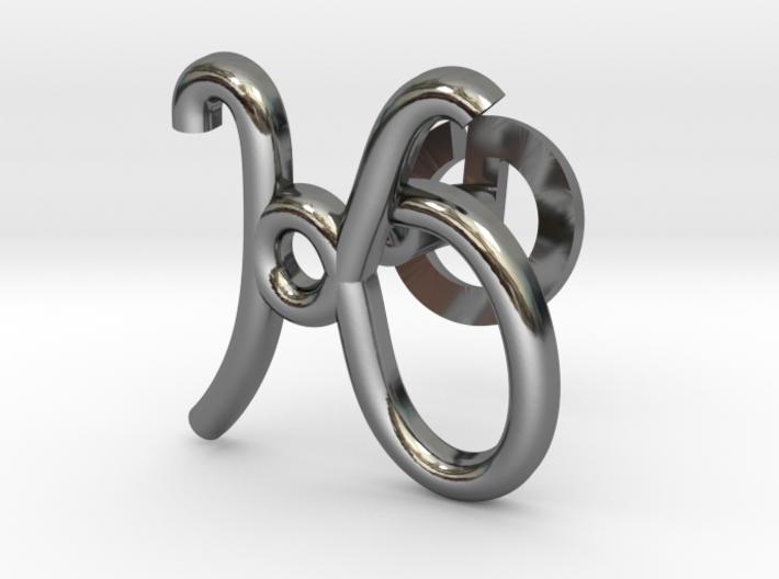 Cursive K Cufflink 3d printed