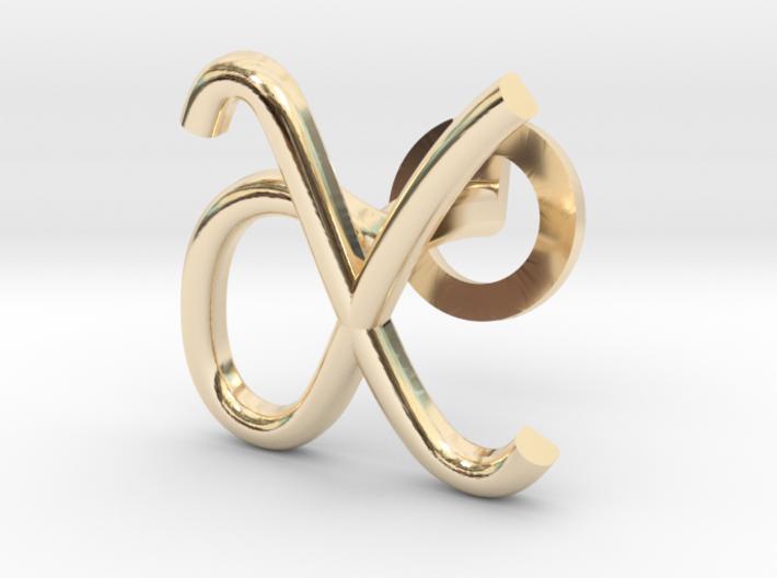Cursive X Cufflink 3d printed