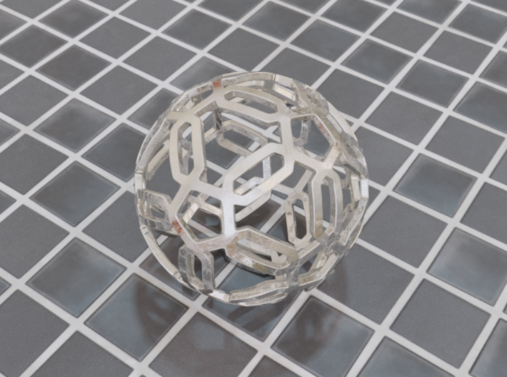 Pentagon Pattern Sphere 3d printed Polished Steel (render)