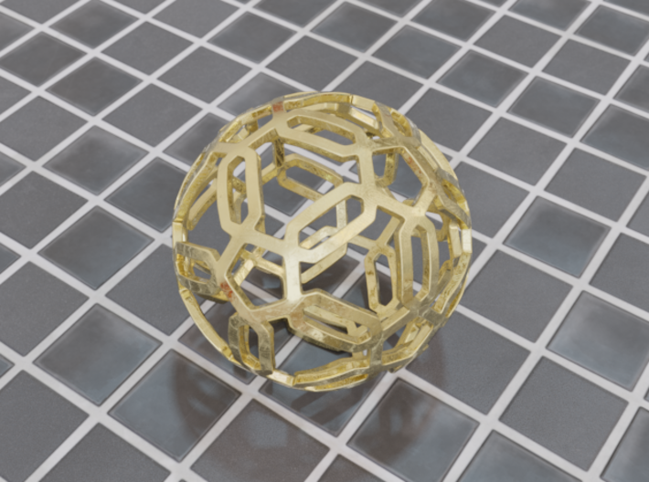 Pentagon Pattern Sphere 3d printed Polished Gold Steel (render)