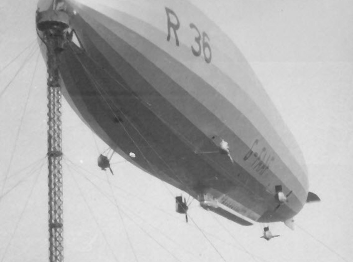 R36 1/1250 & 1/1200 scale (FD) 3d printed R36 at the 120ft high mast (with no lift!)  at Pulham, Norfolk, England (photo: Airship Heritage Trust)