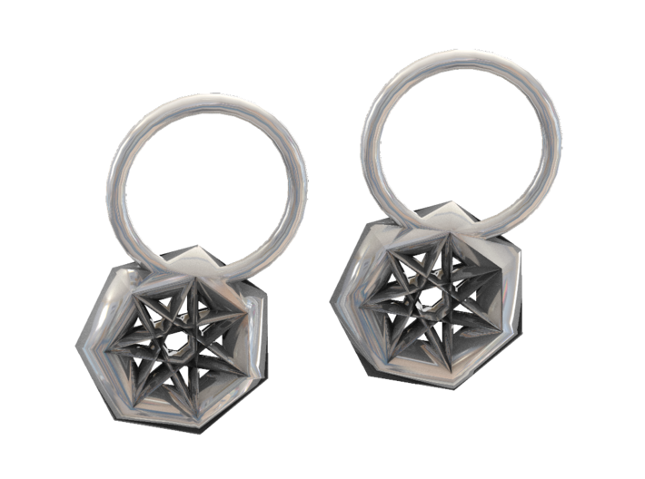 Frosted Ultra Detail Star Earrings 3d printed