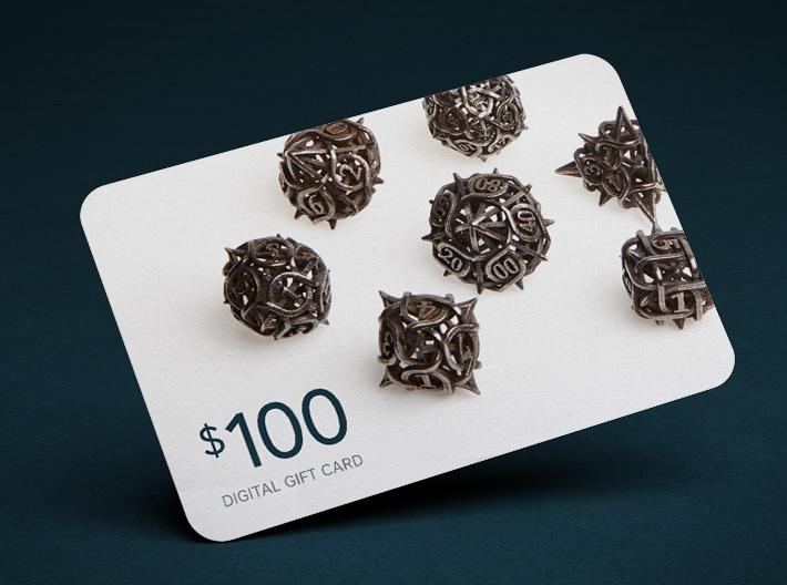 $100 Digital Gift Card 3d printed