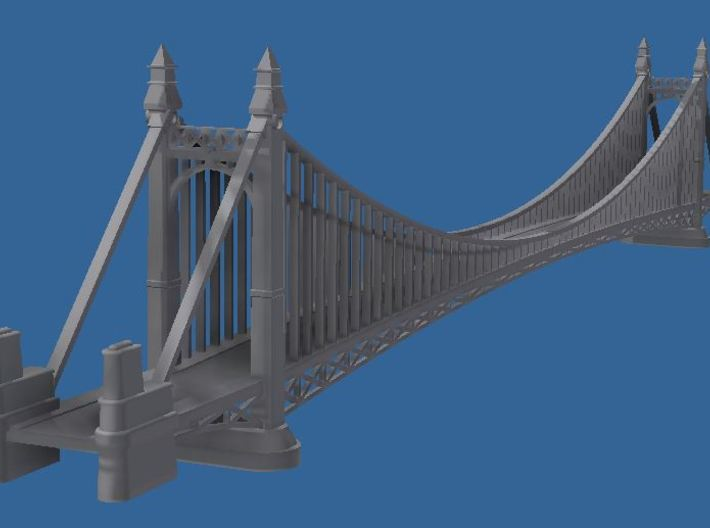 1/1200th scale Szabadsag hid (Liberty bridge) 3d printed A rendered image about the assembled bridge.