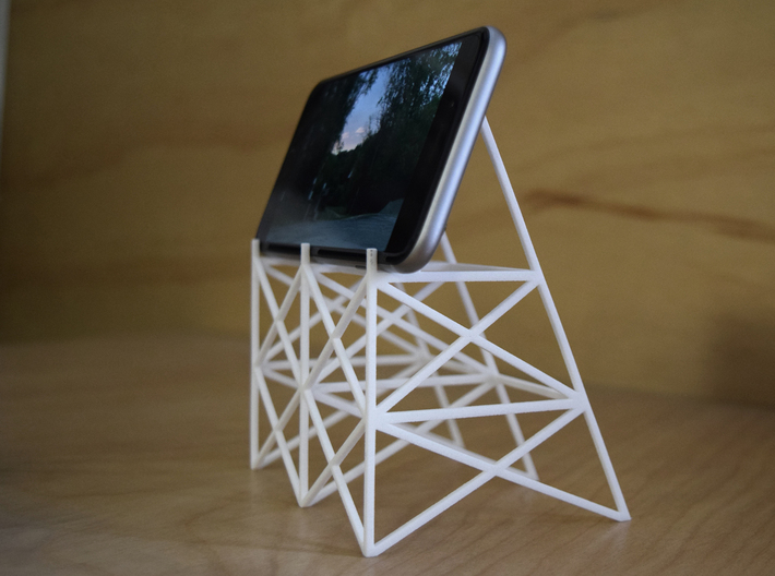 Drive-In Phone Stand 3d printed Photo of stand in use