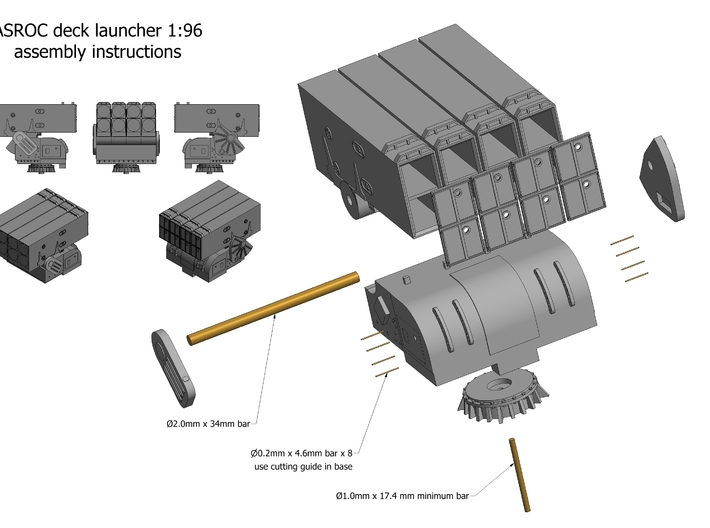 Asroc launcher kit x 1 1/96 3d printed