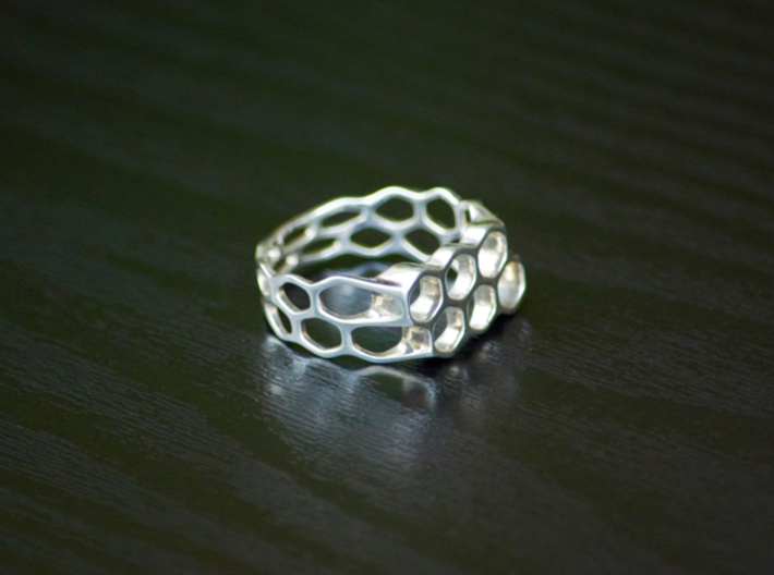 Double Hex Ring, Tapered, Size 8 3d printed Polished Silver