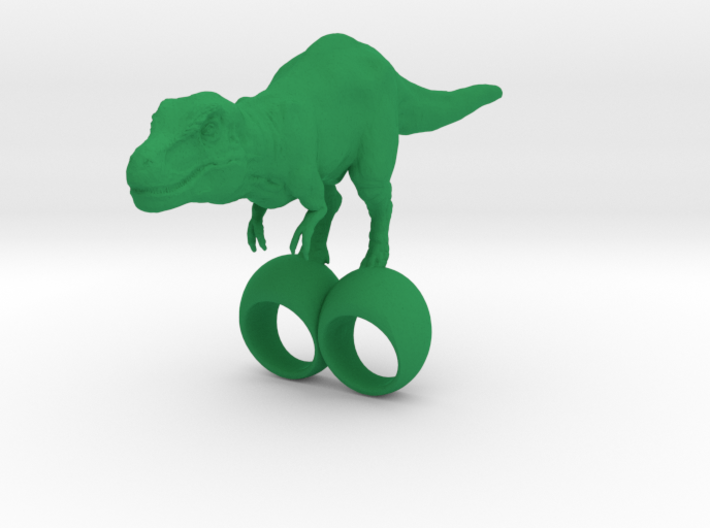 giant silly t-rex double ring SIZE 9 3d printed