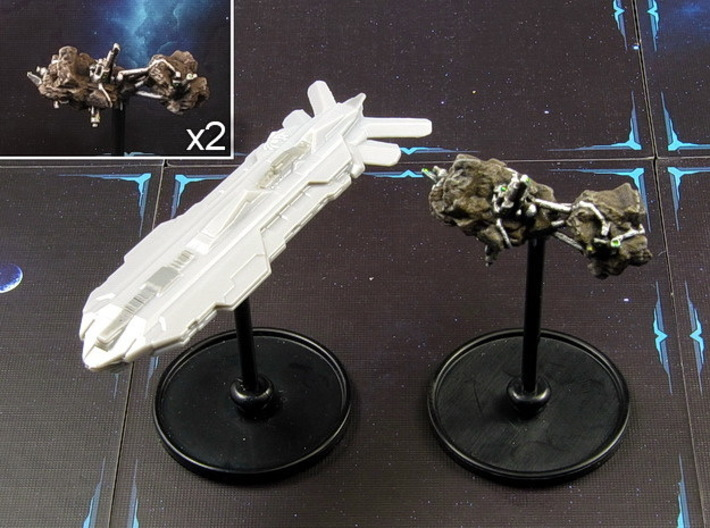 Space colony (2-4 pcs) 3d printed Hand-painted White Strong Flexible