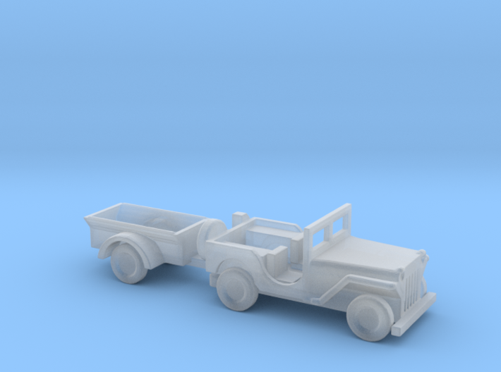 1/144 Scle MB Jeep With Trailer 3d printed