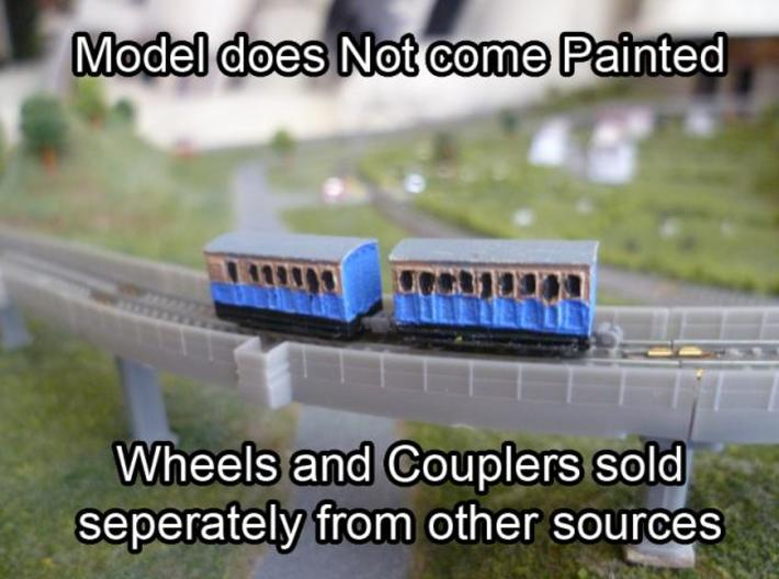 T-gauge 3 Coaches - Custom Wheels, see descriptio 3d printed