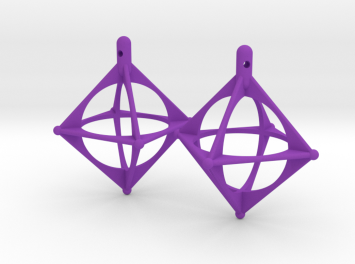 Earrings Octahedrons 3d printed