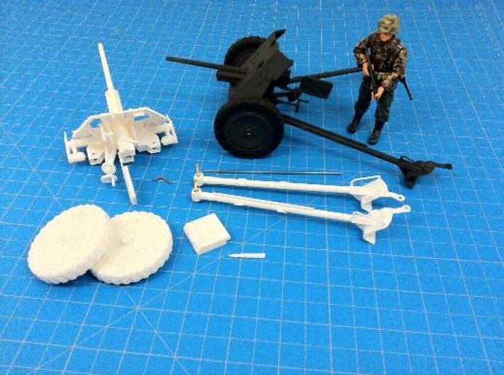 1:18 Pak 36 - 37mm German Anti-Tank Gun - v1 3d printed Painted and assembled.  Shown with 1:18 figure to illustrate scale.