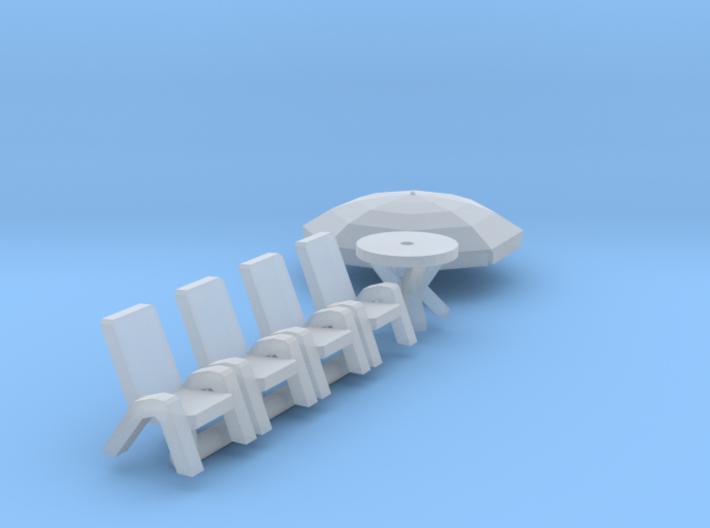 Gartenmöbel mit Sonnenschirm (N 1:160) 3d printed
